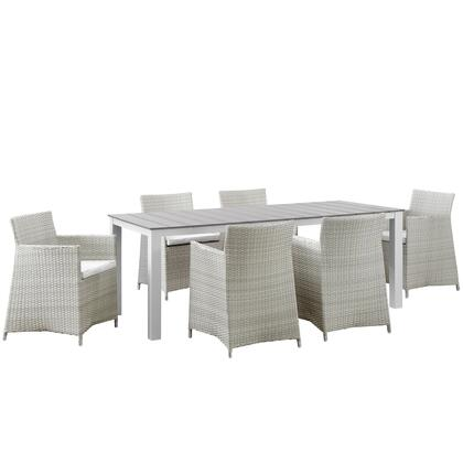 Modway Junction Collection EEI-1750- 7-Piece Outdoor Patio Dining Set with Dining Table and 6 Armchairs in