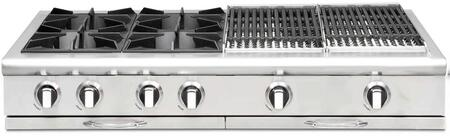 "Capital Culinarian Series 48"" Restaurant Style Range Top with 4 Burners, 2 12"" BBQ Grill with Cover, EZ-Glides Drip Trays, and Auto-Ignition/Re-Ignition, in Stainless Steel"