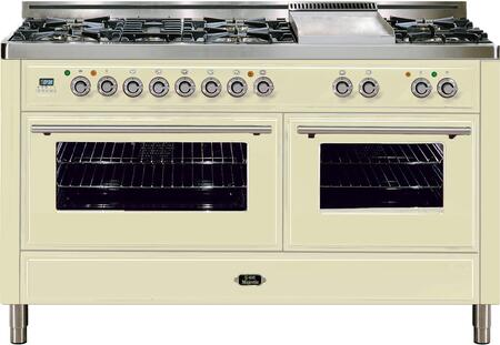 """Ilve UMT150FDMP 60"""" Freestanding Dual Fuel Range with 7 Sealed Burners, 2 Convection Ovens, 5.99 cu. ft. Total Oven Capacity, Rotisserie, Electronic Clock and Timer, Warming Drawer, and Griddle"""