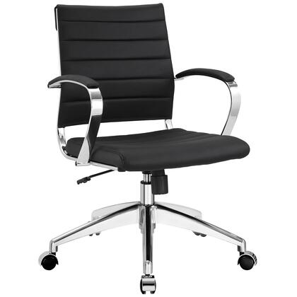 Modway EEI-273 Jive Mid Back Office Chair with Vinyl Cushion Rolls, Adjustable Height, Back Tilt Lever, and Chrome-plated Aluminum Frame