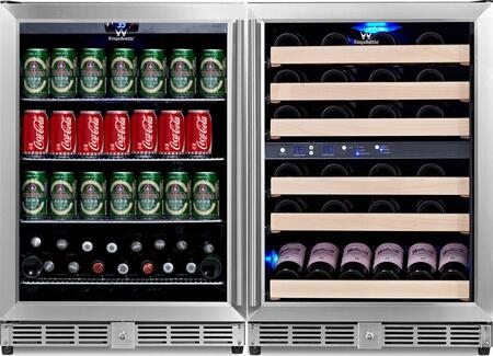 """KingsBottle KBU-50COMBO-BW 47"""" x Temperature Zone Wine Cooler and Beverage Center with 46 Bottle and 160 Can Capacity, Warp Resistant Wood and Chromed Shelves: Glass Door with Stainless Steel Trim"""