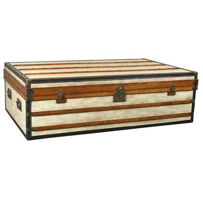 Authentic Models MF0X Polo Club Trunk, with Canvas, Maple, Pine & Plywood Material, in Ivory, Pine/ Honey Distressed French Finish
