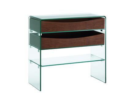 "Casabianca Ibiza Collection 31.5"" Console Table with 2 Wood Drawers, Glass Top, Glass Shelf, Glass Panels and Medium-Density Fiberboard (MDF) Materials in"