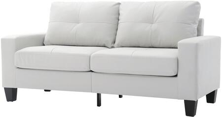 """Glory Furniture Newbury Collection 71"""" Modular Sofa with Tufted Cushions, Track Arms, Tapered Legs, Pocket Coil Spring Seat Cushions and Faux Leather Upholstery in"""
