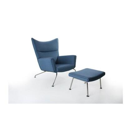 Fine Mod Imports FMI1202 Wing Chair & Ottoman Upholstered In 100% Wool: