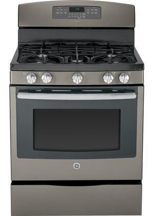 "GE JGB760EEFES 30"" Gas Freestanding Range with Sealed Burner Cooktop, 5.6 Primary Oven Capacity, Storage in Slate"