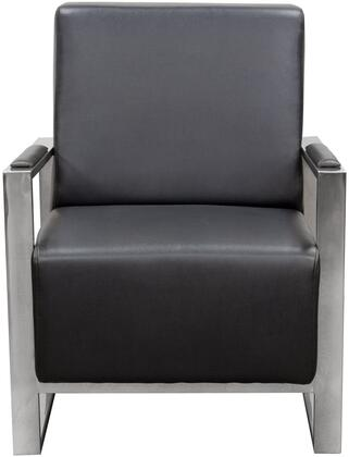 """Diamond Sofa Century 28"""" Accent Chair with Stainless Steel Arm, Angled Metal Legs and Bonded Leather Upholstery in"""