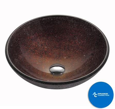 "Kraus GV570X Multicolor Series 17"" Callisto Round Vessel Sink with 12-mm Tempered Glass Construction, Easy-to-Clean Polished Surface, and Included Pop-Up Drain with Mounting Ring"