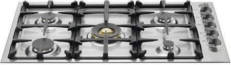 "Bertazzoni QB36M500 36"" Master Series Cooktop with 5 Burners, Dual Power Burner, Seamless Surface and One-Touch Ignition in Stainless Steel"