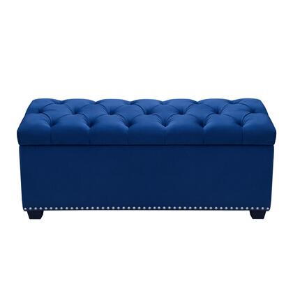 Diamond Sofa Majestic Collection MAJESTICTX Tufted Velvet Lift-Top Storage Trunk with Nail Head Accent and Velvet