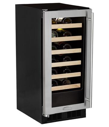 "Marvel ML15WS 15"" Single Zone Wine Cellar with 24 Bottle Storage Capacity, Vibration Neutralization System, Dual level LED Lighting, 6 Glide-Out Racks and Dual Pane Glass Door:"