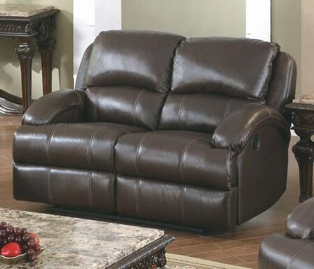 Yuan Tai CA8626LBR Capri Series Leather Loveseat with Wood Frame Loveseat