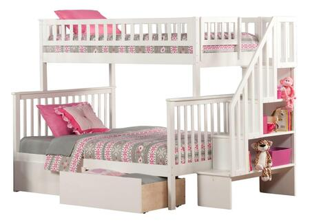 Atlantic Furniture AB5674 Woodland Staircase Bunk Bed Twin Over Full With Urban Bed Drawers