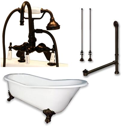 """Cambridge ST61684DPKGXX7DH Cast Iron Slipper Clawfoot Tub 61"""" x 30"""" with 7"""" Deck Mount Faucet Drillings and English Telephone Style Faucet Complete Plumbing Package"""