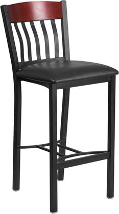 "Flash Furniture Eclipse Series XU-DG-60618B-XXX-BLKV-GG 43"" Barstool with Slat Back, Stretchers and Vinyl Seat in"