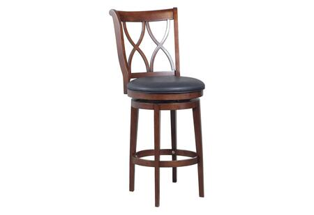 Powell Carmen Collection 15B8189 Stool with Double-X Wood Back, 360 Degree Swivel and Circular Cross Brace in Rustic Oak