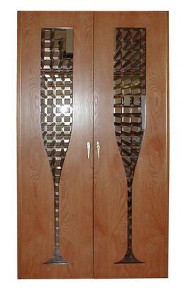 Vinotemp VINO-440CHAMP Champagne Glass Design Oak Wine Cooler Cabinet,