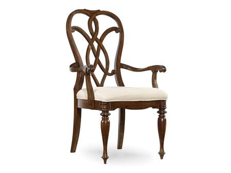 Hooker Furniture Leesburg Series 5381-753 Traditional-Style Dining Room Splatback Chair with Turned Legs, Piped Stitching and Fabric Upholstery in Beige