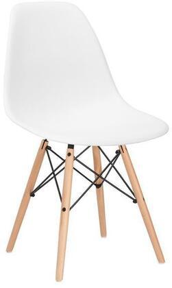 EdgeMod EM105NATWHIX4 Vortex Series Modern Wood Frame Dining Room Chair