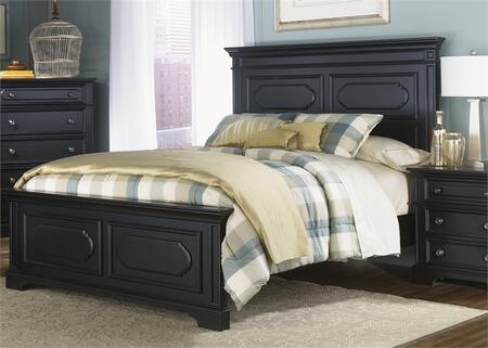 Liberty Furniture Carrington II Collection 917-BR-XPB Panel Bed with Shaped Overlay Panels, Crown Moulding and Bracket Feet in Black Finish