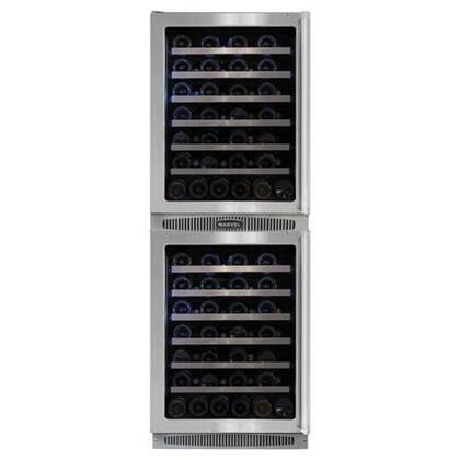 """Marvel MPRO66WCM-BS-G-L Professional 24""""W Double Wine Cellar: Stainless Steel Frame Glass Doors"""