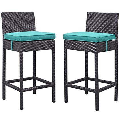 "Modway Lift Collection Set of 2 39"" Outdoor Patio Bar Stool with Powder Coated Aluminum Frame, UV Resistant Synthetic Rattan and Water Resistant Cushions in"