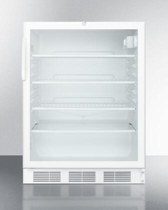 """Summit SCR600LBIHHx 24"""" Wine Cooler with 5.5 cu. ft. Capacity, Automatic Defrost, Interior Light, Adjustable Thermostat, CFC Free, and UL Listed, in White"""