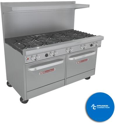 "Southbend 4601AC5 Ultimate Range Series 60"" Gas Range with Seven Standard Non-Clog Burners and Two Rear Pyromax Burners, Up to 311000 BTUs (NG)/248000 BTUs (LP), Convection Oven and Cabinet Base"