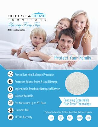 Chelsea Home Furniture 91XXXXLT-XX-X X Luxury Machine Washable Terry Mattress Protector for Dust and Mite Protection, Waterproof Barrier, with Terry Feel and 10 Year Warranty in White