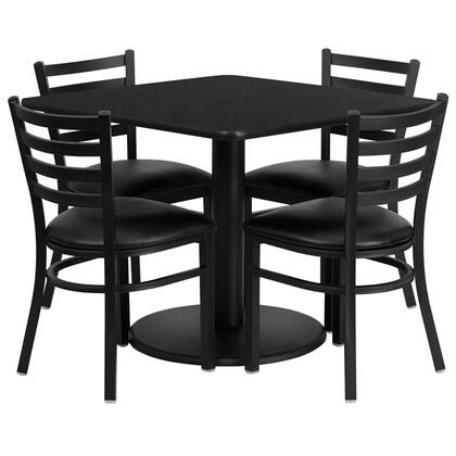 "Flash Furniture RSRB1X1X-GG 36"" Square Laminate Table Set with 4 Ladder Back Metal Chairs with Black Vinyl Seat, Commercial Design, 18 Gauge Steel Frame, and Heavy Duty Construction"