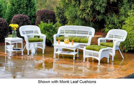 Tortuga Portside PS6S-WHITE 6-Piece Seating Patio Set with Loveseat, Coffee Table, Side Table, 2 Chairs and Ottoman in White with X Cushions