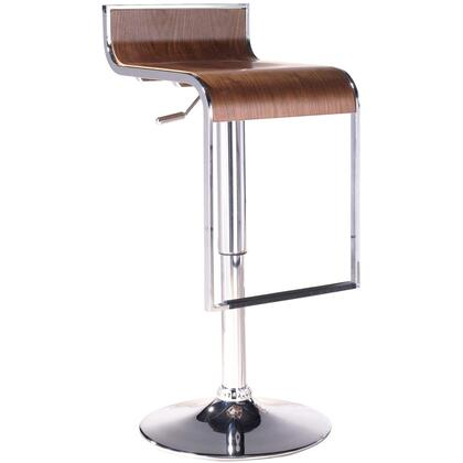 """Modway EEI-605 LEM Wooden Bar Stool with Modern Design, Polished Steel Frame, Adjustable Height from 27"""" - 31"""", and 360 Degree Swivel"""