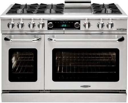 "Capital Culinarian Series COB484G2-X 48"" Freestanding Dual Fuel Electric Range with 6 Open Burners, Primary 4.6 Cu. Ft. Oven Cavity, Secondary 2.1 Cu. Ft. Oven Cavity, and Moto-Rotis, in Stainless Steel"