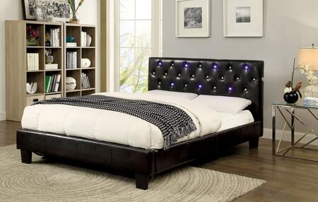 Furniture of America Azaleh CM7431X Bed with Contemporary Style, Platform Bed, Padded Leatherette, Button Tufting with LED Lights and Touch Switch on Both Sides of Headboard in Espresso