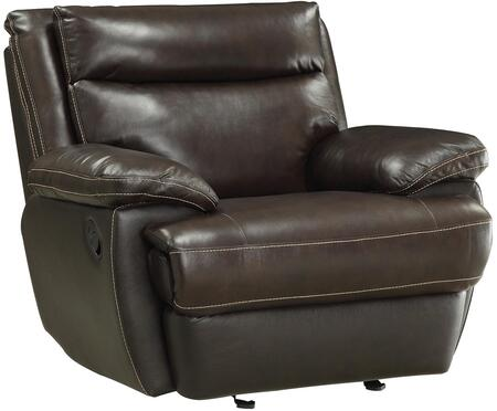 "Coaster MacPherson 44"" Recliner with Double Back Cushion Design, Wood Frame, Contrast Top Stitch and Top Grain Leather Match Upholstery in Cocoa Bean Color"