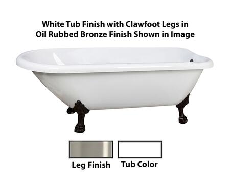 "Barclay ATR70LP Baroque 70"" Acrylic Roll Top Clawfoot Tub, with White Tub Finish, Overflow, Lion Paw Foot Design, ,with Clawfoot Finish in"