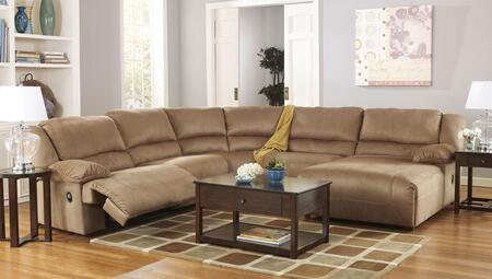 Signature Design by Ashley Hogan 57802-0X-19-19-77-4X 5-Piece Sectional Sofa with X Arm Chaise, Two Zero Wall Armless Recliners, Wedge and X Arm Zero Wall Recliner in Mocha