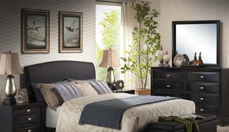 Acme Furniture 143SEQ Ireland Platform Bed with Black PU Rounded Headboard