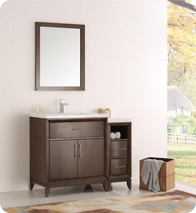 "Fresca Cambridge Collection FVN21-3012 42"" Traditional Bathroom Vanity with Mirror, 2 Soft Close Doors, Tapered Legs, Integrated Ceramic Sink & Countertop and Side Cabinet in"