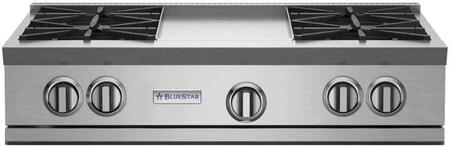"""BlueStar RGTNB Series RGTNB364GV1 36"""" Pro-Style Gas Rangetop With 4 Open Burners, 22,000 BTU Power Burners, Simmer Burner, 12"""" Griddle, Single Point Spark Ignition, In Stainless Steel"""