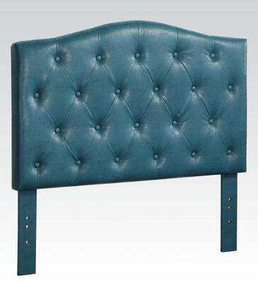 Acme Furniture 391B Viola Size Headboard with Button Tufting Detail and PU Leather Upholstery in Blue