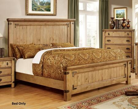 Furniture of America Pioneer CM7449X Bed with Country Style and Platform Bed in Weathered Elm Finish