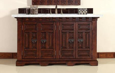 "James Martin Monterey 60"" Double Vanity with 1 Shelf, 4 Doors, 2 Sinks Included, Marble Top, Antique Iron Hardware, Oak and Birch Materials in Antique Brandy Color"