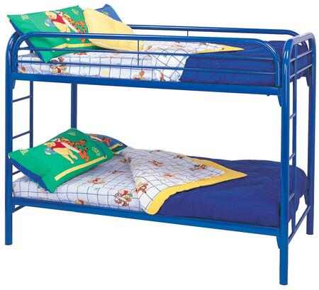 Coaster Fordham Twin Over Twin Bunk Bed with Built-In Ladders, Full Length Guard Rails and Two Inch Metal Tubing Construction in