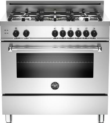 "Bertazzoni Master MAS365GASXET 36"" Gas Range with 5 Aluminum Burners, 18,000 BTUs Power Burner, Rubber-Coated Black Knobs with Nickel Trim and 4.4 cu. ft. Gas Convection Oven in Stainless Steel"