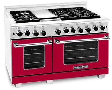 "American Range ARR4842GRBR 48"" Heritage Classic Series Gas Freestanding Range with Sealed Burner Cooktop, 4.8 cu. ft. Primary Oven Capacity, in Red"