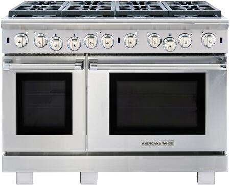 """American Range ARROB-848 48"""" Performer Series Gas Range with 4.4 cu. ft. 30"""" Oven Capacity, 2.4 cu. ft. 18"""" Oven Capacity, 8 Open Burners and Convection Ovens with Infrared Broiler, in Stainless Steel:"""