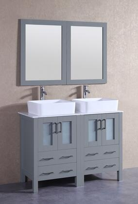 """Bosconi AGR224RCCMX XX"""" Double Vanity with Carrara Marble Top, Rectangle White Ceramic Vessel Sink, F-S02 Faucet, Mirror, 4 Doors and X Drawers in Grey"""