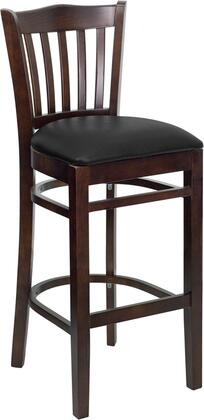 "Flash Furniture HERCULES Series XU-DGW0008BARVRT-WAL-XXV-GG 31"" Walnut Finished Vertical Slat Back Wooden Restaurant Bar Stool with Vinyl Seat, Commercial Design, Foot Rest Rung, and Plastic Floor Glides"