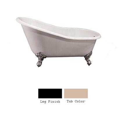 """Barclay CTS7HR61I 61"""" Harrison Cast Iron Slipper Tub with Overflow and 7"""" Right Side Rim Holes with Feet Finished in:"""